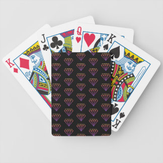 Bright Pink Gradient Diamond Pattern Playing Cards