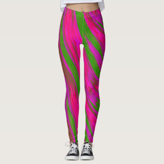 Bright Pink Green Color Swish Abstract Leggings