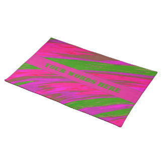 Bright Pink Green Color Swish Abstract Placemat