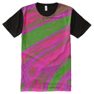 Bright Pink Green  Color Swish All-Over-Print T-Shirt