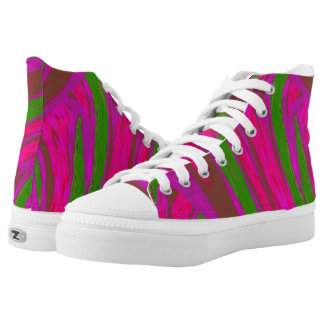Bright Pink Green Color Swish High Tops
