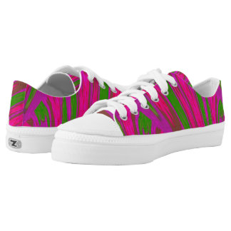 Bright Pink Green Color Swish Low-Top Sneakers