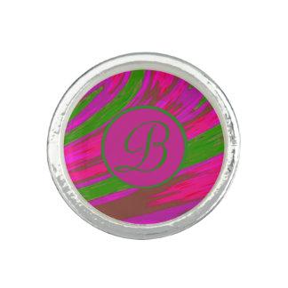 Bright Pink Green  Color Swish Monogram Ring