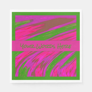 Bright Pink Green Color Swish Paper Napkin