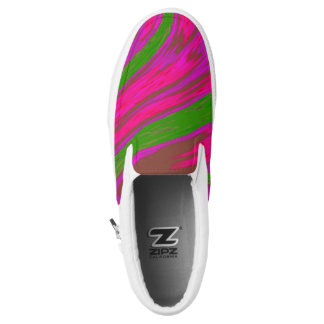 Bright Pink Green Color Swish Slip-On Sneakers