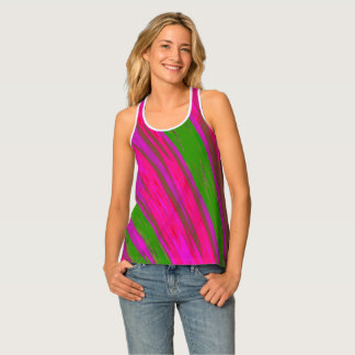 Bright Pink Green Color Swish Tank Top