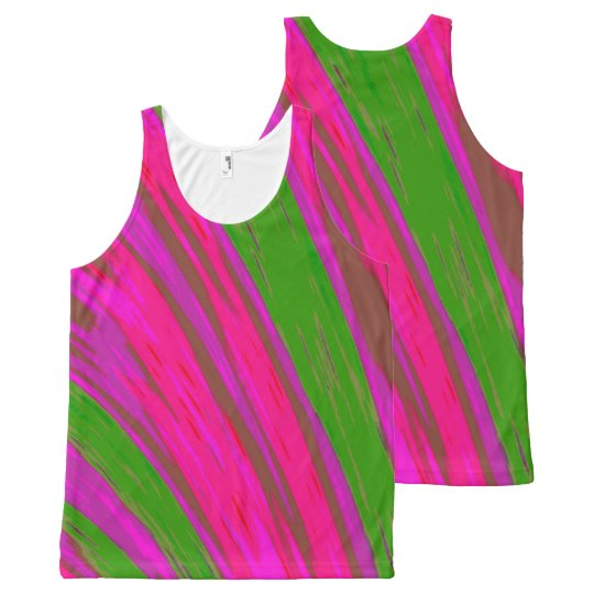 Bright Pink Green Colour Swish All-Over-Print Tank Top