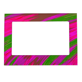 Bright Pink Green Modern Colorful Abstract Photo Frame Magnets