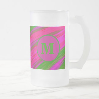 Bright Pink Green Monogram Swish Abstract Frosted Glass Beer Mug