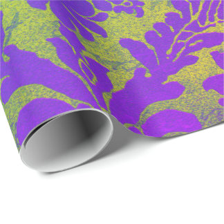 Bright Pink Green Purple Emerald Bamboo Damask Wrapping Paper