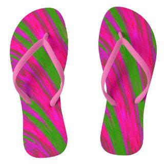 Bright Pink Green Swish Design Flip Flops