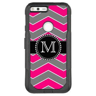 Bright Pink Grey, Black Chevron, Monogrammed OtterBox Commuter Google Pixel XL Case