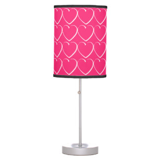 Bright Pink Hearts Table Lamp