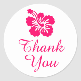 Bright Pink Hibiscus Thank You Round Stickers