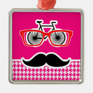Bright Pink Houndstooth Hipster Ornament