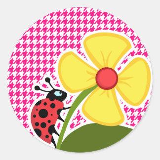 Bright Pink Houndstooth; Ladybug Round Sticker