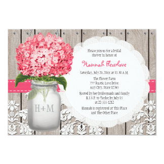 "Bright Pink Hydrangea Mason Jar Bridal Shower 5"" X 7"" Invitation Card"