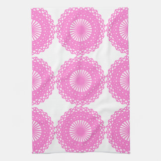 Bright Pink Lace Pattern Design. Kitchen Towel