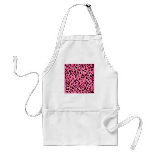 Bright Pink Leopard Print Pattern. Aprons