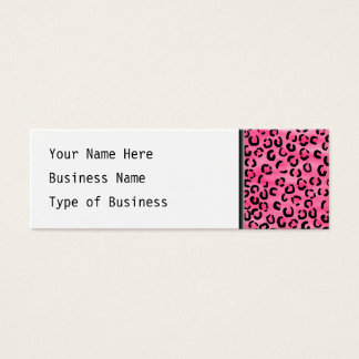 Bright Pink Leopard Print Pattern. Mini Business Card