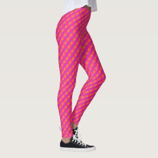 Bright Pink, Magenta and Orange Check Pattern Leggings
