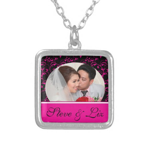 Bright Pink on Black Frame for Bride & Groom Personalized Necklace