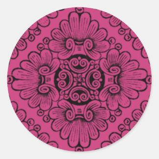 Bright Pink Ornate Round Sticker