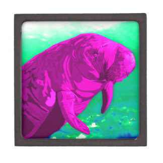 Bright pink painted Manatee art Premium Gift Boxes