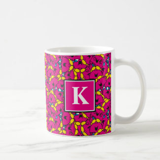 Bright Pink Pattern | Monogram Coffee Mug