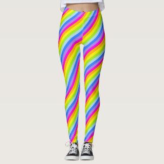 Bright pink rainbow striped leggings