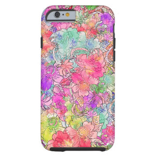 Bright Pink Red Watercolor Floral Drawing Sketch Tough iPhone 6 Case