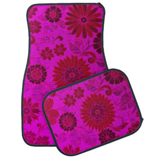 Bright Pink Retro Flowers Car Liners