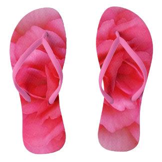 Bright Pink Rose Flip Flops