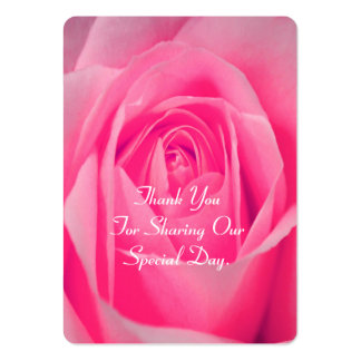 Bright pink rose flower favor thank you tag large business card