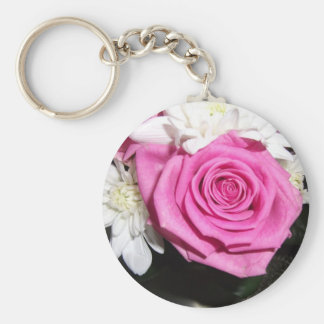Bright Pink Rose Keychains