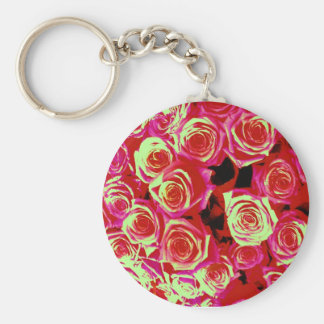 Bright pink roses key chain