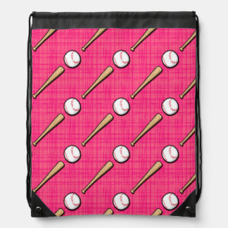 Bright Pink Softball Sports Pattern Drawstring Bag