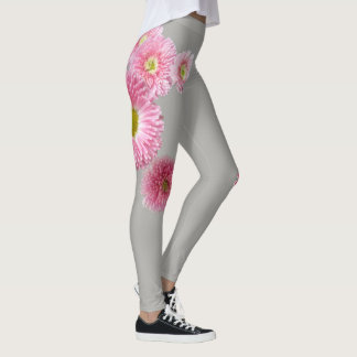 Bright Pink Spring Flower Leggings