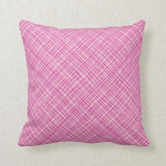 Bright Pink Texture Plaid Sofa Pillow