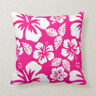 Bright Pink Tropical Hibiscus Flowers Throw Pillow