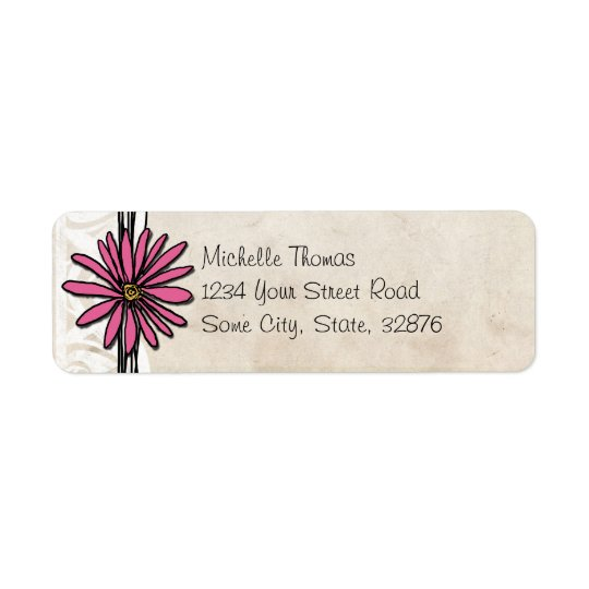 Bright Pink Vintage Daisy Wedding Address