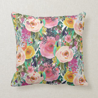 Bright Pink watercolor floral throw pillow