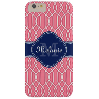 Bright Pink Wht Lattice Pattern Navy Monogram Barely There iPhone 6 Plus Case