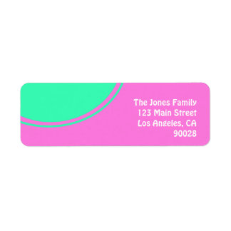 bright pink with green circle return address label