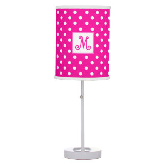 Bright Pink With White Polka Dots With Monogram Table Lamp