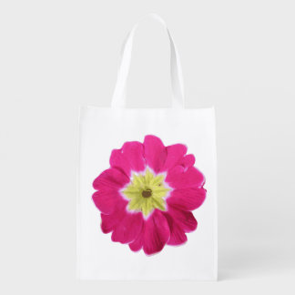 bright pink yellow flower pop art design garden grocery bag