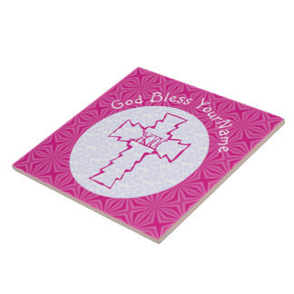 Bright Pink Zig Zag Cross on White and Hot Pink Ceramic Tiles