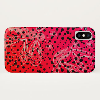 Bright pinky retro halftones with buterflies iPhone x case