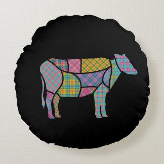 Bright Plaid Cow Round Black Round Pillow