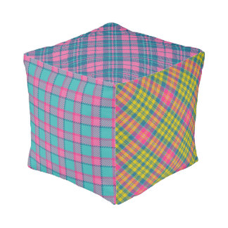 Bright Plaid Patchwork Poof Pouf